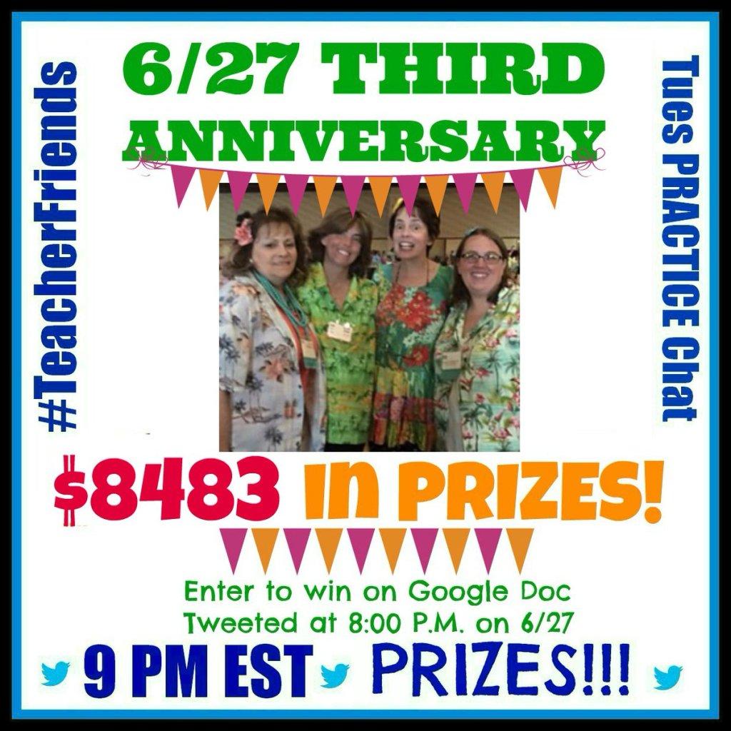Over $14K in Prizes at #TeacherFriends Chat June 27