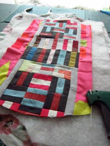 custom handbag in multicolour striped quilted cloth