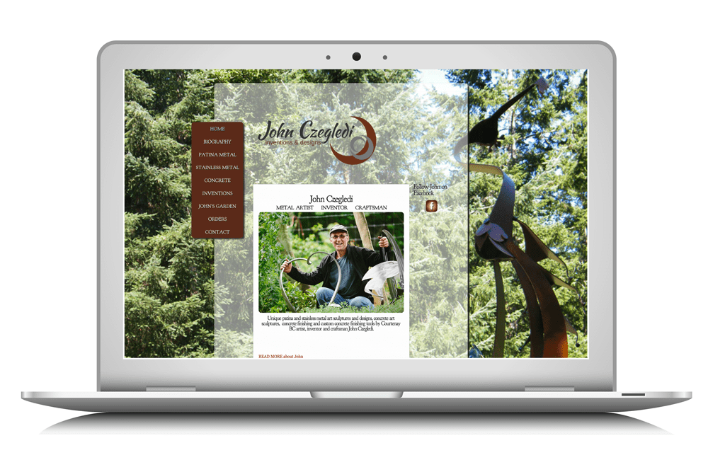 a website designed by Maggie Ziegler for John Czegledi, artisan and inventor form Courtenay BC