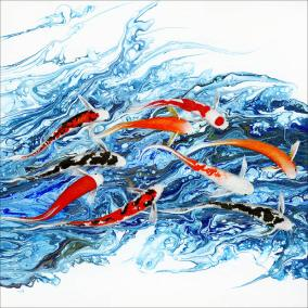 Electric Blue Original art acrylic koi painting Maggie Ziegler artist and graphic designer Art Alchemy Courtenay BC