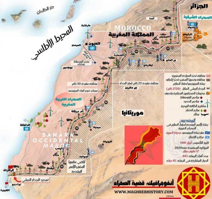 خريطة الصحراء الغربية بالتفصيل التاريخ المغاربي