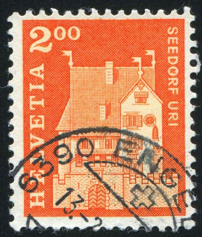 Schloss A Pro auf einer Schweizer Briefmarke