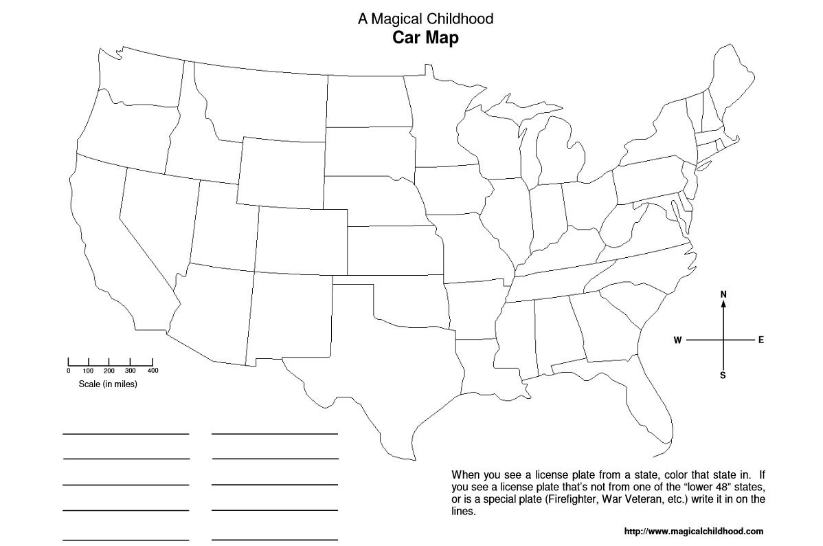Use Printable Car Maps To Help Kids Learn Their States On