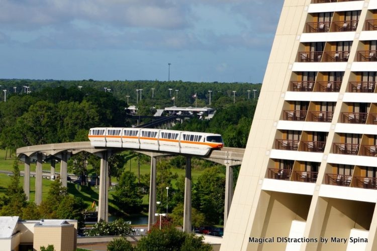 View from Bay Lake Tower of the Monorail entering the Contemporary-Photo credit Mary Spina