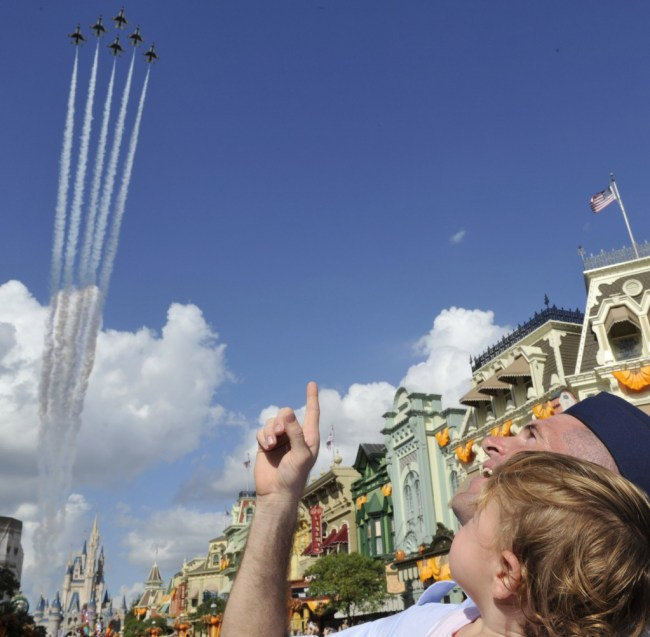 U.S. Air Force Thunderbirds fly over the Magic Kingdom - Photo by Gene Duncan