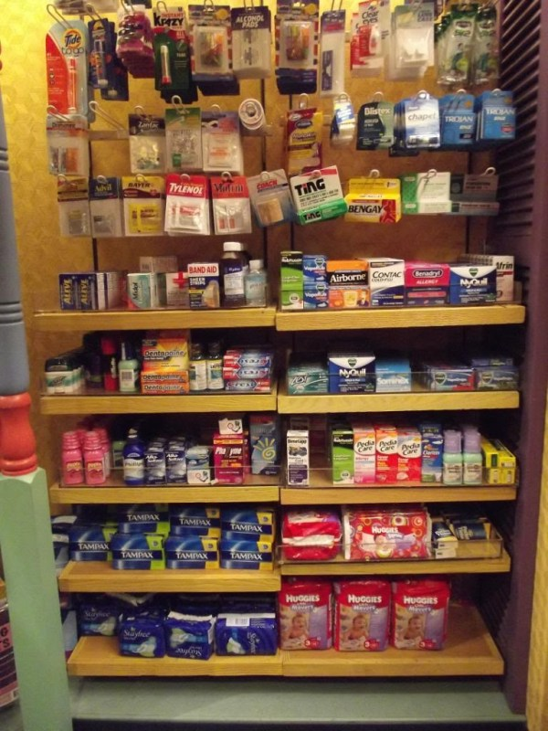 Sundries for sale in the resort store