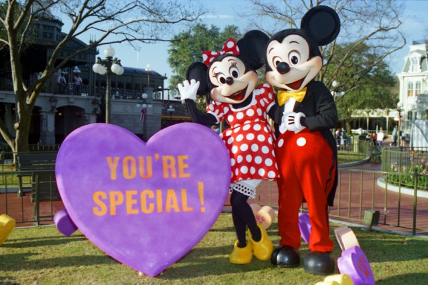 Mickey and Minnie in front of Cinderella Castle with a heart on the ground which says your special