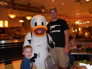 Photo with Stormtrooper Donald at Jedi Mickey's Star Wars Dine at H&V