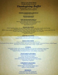 Disney's Vero Beach Resort Thanksgiving Buffet Menu