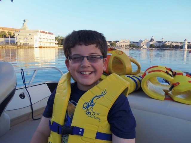 Jeremy with life jacket - WDW fishing