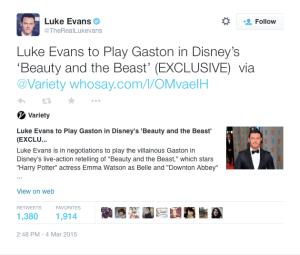 Luke Evan's Twitter confirmation.