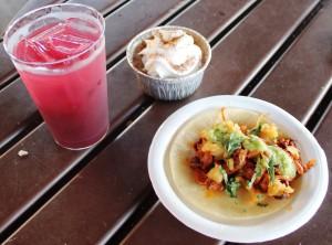 Jardin de Fiestas: Tacos al pastor, Flan de Queso con Chocolate Abuelita, Blueberry Pomegranate Margarita