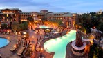 A night time photo of the Grand Californian Pool