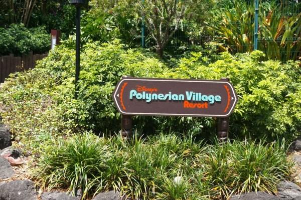 Polynesian Village Resort sign on walkway from TTC