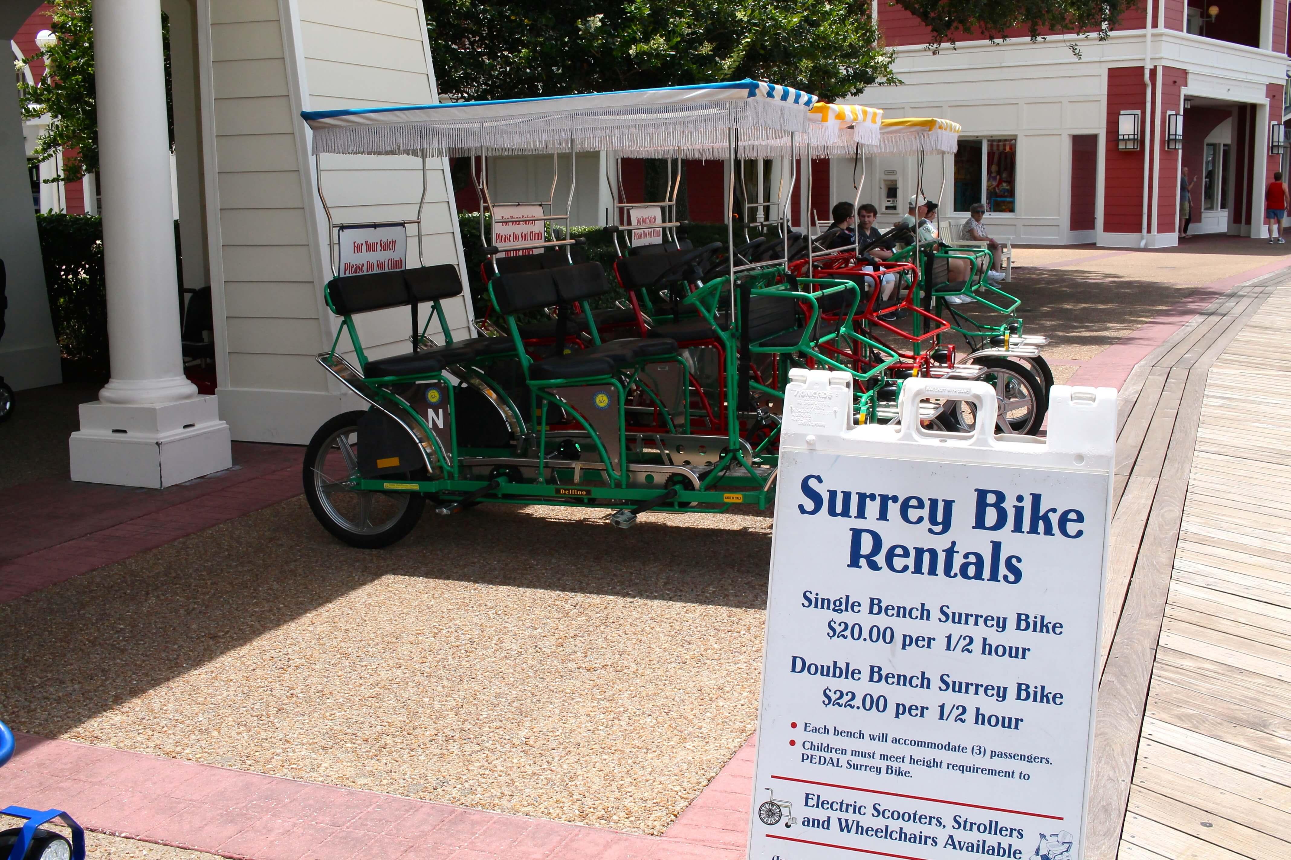 Surrey Bike Rentals at Disney's BoardWalk