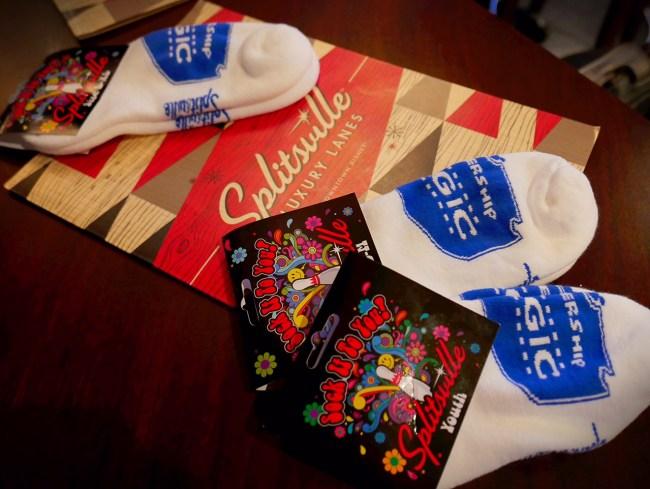 Splitsville menu and socks