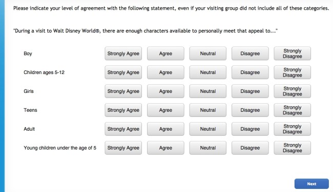 Screen Shot of Disney Survey