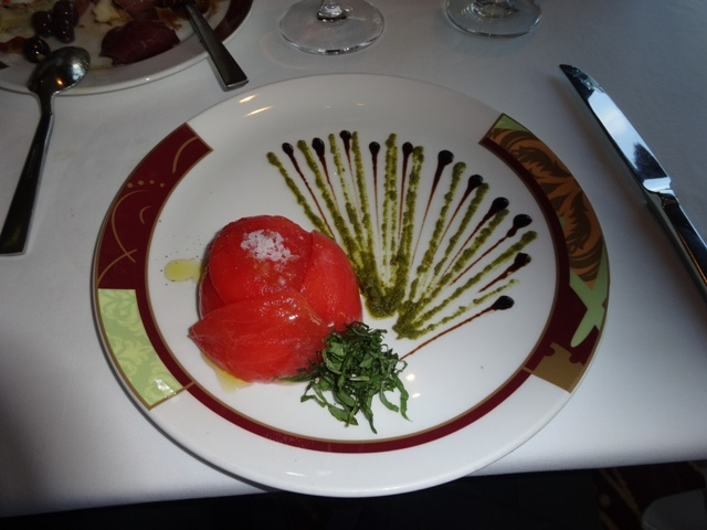 Mozarella and plum tomato appetizer at Palo on the Disney Fantasy2
