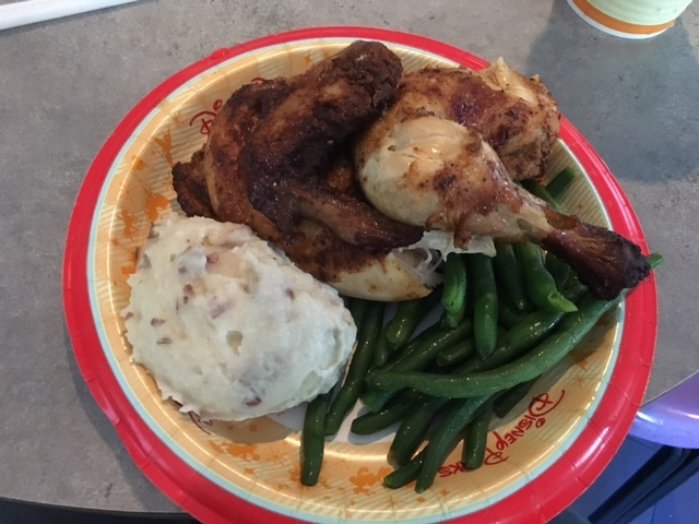 Rotisserie chicken meal at Cosmic Ray's Starlight Cafe
