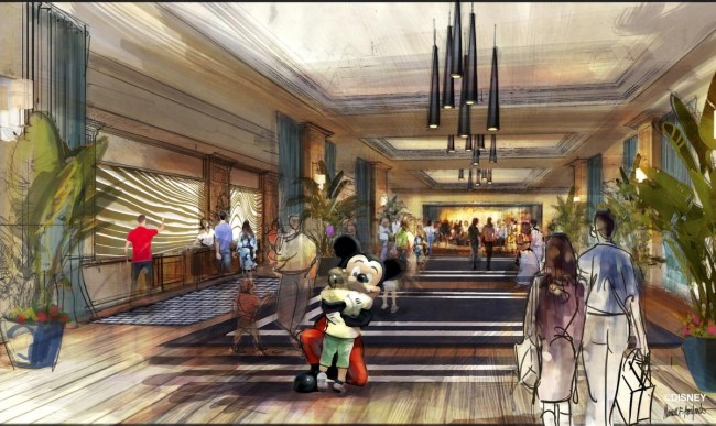 "Concept art of the lobby for the proposed new hotel at the Disneyland Resort. The approximately 700 room hotel will be located on 10 acres on what is currently the Downtown Disney parking lot. The proposed hotel would be a AAA ""Four-Diamond"" hotel. (OC Register/Disneyland Resort)"