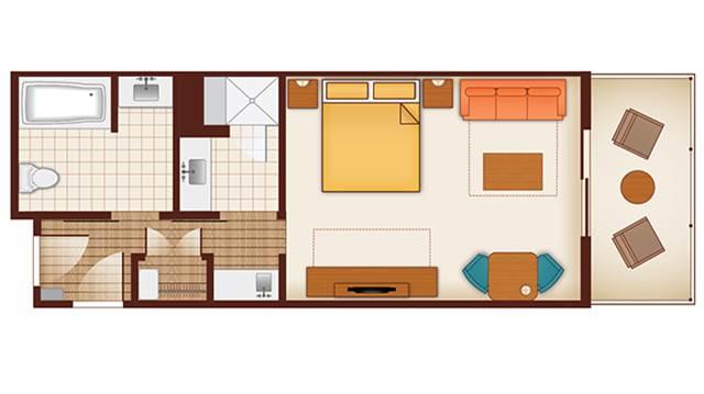 The floor plan of the studio at Disney's Polynesian Villas & Bungalows - Courtesy Disney