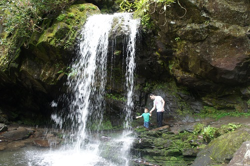 Boy and man walking behind Grotto Falls