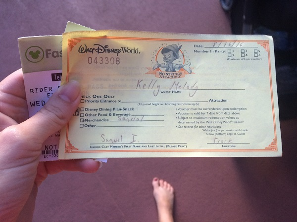 Voucher for new flip flops provided by a Cast Member