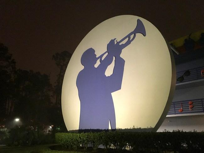 Exterior of Disney's All-Star Music, a Walt Disney World Value Resort, Jazz building at night. Photo credit: Rachel Horsley