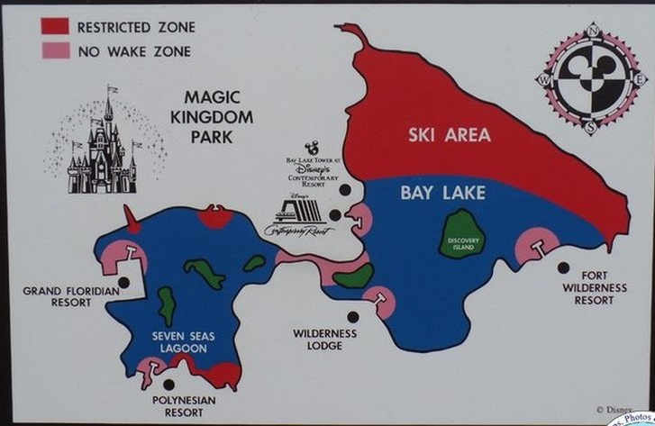 Sea Raycers in Disney Magic Kingdom waterways map with wake zones.