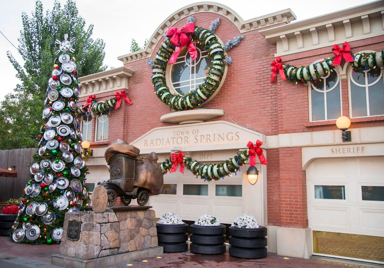Photos of Cars Land's holiday decorations