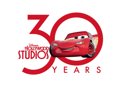 Photos of Mater and Lightning McQueen's Hollywood Studios' 30th anniversary logos