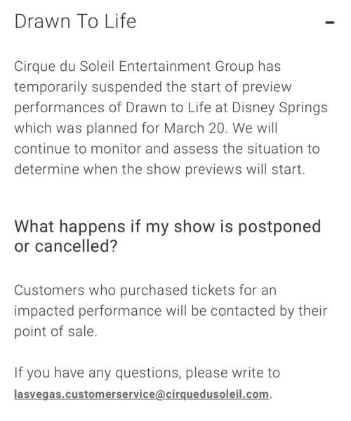 Photo of Cirque du Soleil's announcement that Drawn to Life previews are temporarily suspended