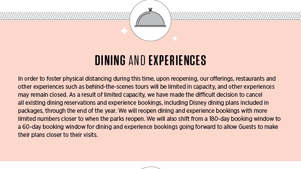 Dining and experiences when Walt Disney World reopens