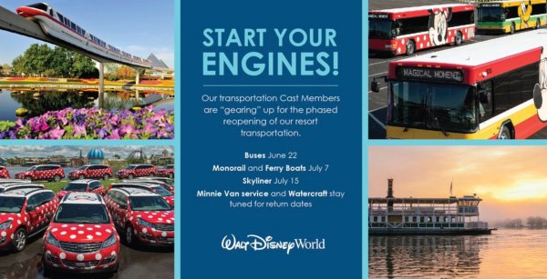 Photo of Walt Disney World transportation reopening dates