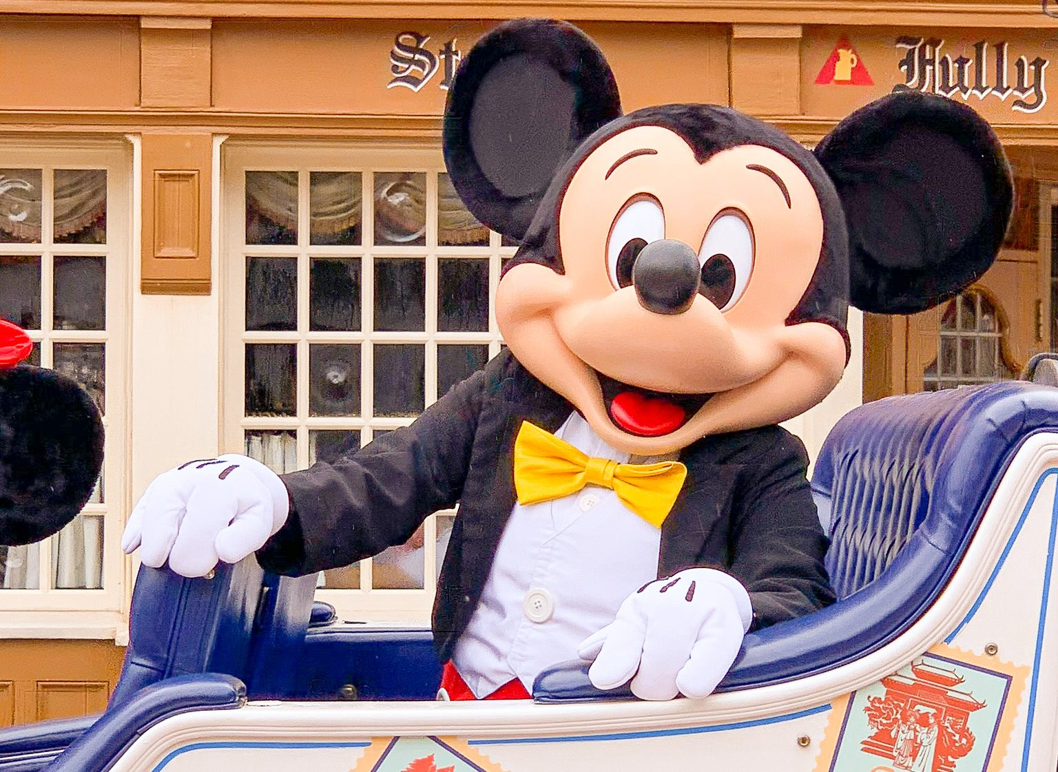 Mickey Mouse in an Epcot cavalcade