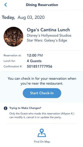Mobile Dine Check-In at Walt Disney World