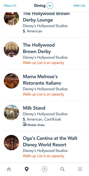 Walk-up availability at Walt Disney World