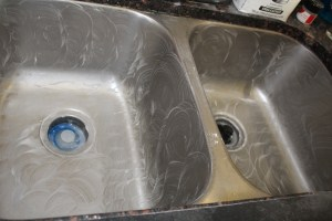 magical mama blog how to clean your stainless steel sink metal silver dirty filthy stained rusty hydrogen Peroxide cream of tartar paste
