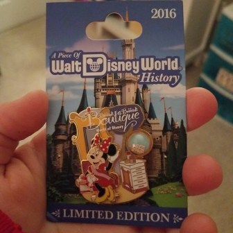 A Piece of WDW History pin released November 2016 with a piece of the World of Disney boutique
