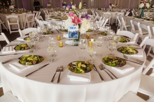 wedding coordination by Magical Moments by Megan, Inside of Scripps Seaside Forum, Plated salad by The French gourmet catering, Cerritos Wedding Planner, San Diego Wedding Planner, Orange County Wedding Planner, Los Angeles Wedding Planner