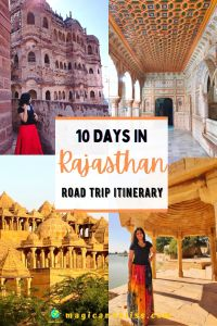 Rajasthan is one of India's top travel destinations thanks to amazing national parks, forts, Thar Desert and more. The best way to explore Rajasthan is through a road trip from Delhi. Find out the best places to visit in 10 days Rajasthan itinerary including stops at Jaipur, Jaisalmer, Jodhpur and Bikaner and various other places to visit and things to do in Rajasthan. #india #indiatravel #asia #rajasthantravel