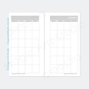 Visão mensal em duas páginas permanente - personal - tons de cinza
