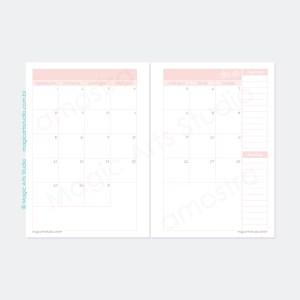 Planejamento mensal em duas páginas sem datas na cor rosa