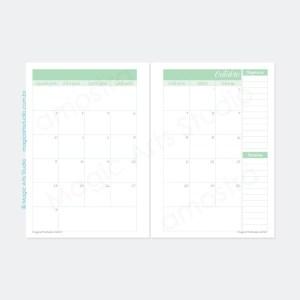 Planejamento mensal em duas páginas datado na cor verde