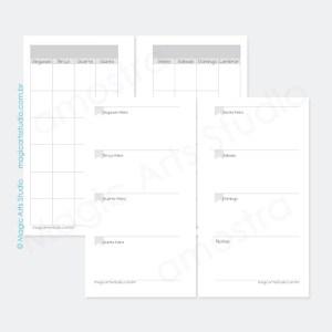 Insert permanente com visão mensal em duas paginas, visão semanal em duas páginas e espaço para notas em tamanho personal com bandeirinhas.