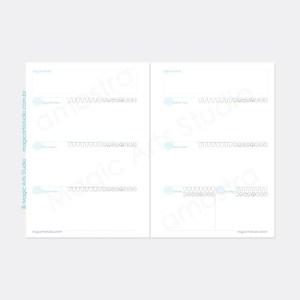 Insert sem datas com visão semanal em duas páginas, com controle de consumo de água e registro de emoções.