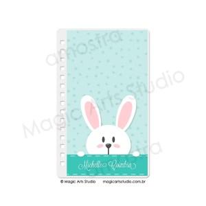 Capa em Wire-o Bunny Fundo Verde - tamanho Personal