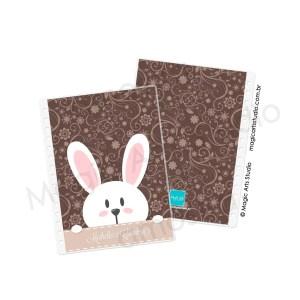 Capa e contra capa em Wire-o Bunny Fundo Marrom - tamanho A5
