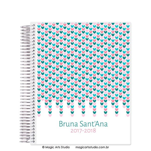 Magic Planner tamanho Large com espiral prata - Color Hearts