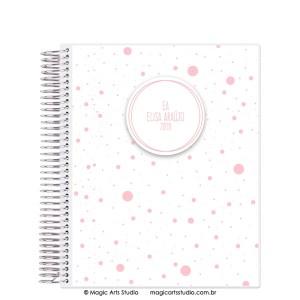 Magic Planner tamanho Large com espiral prata - Dots rosa